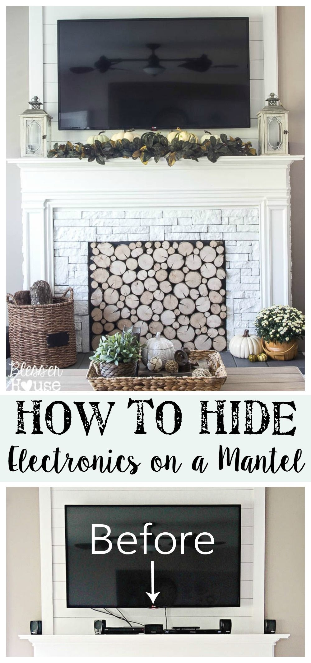 How to Hide Electronics on a Mantel   Bless'er House