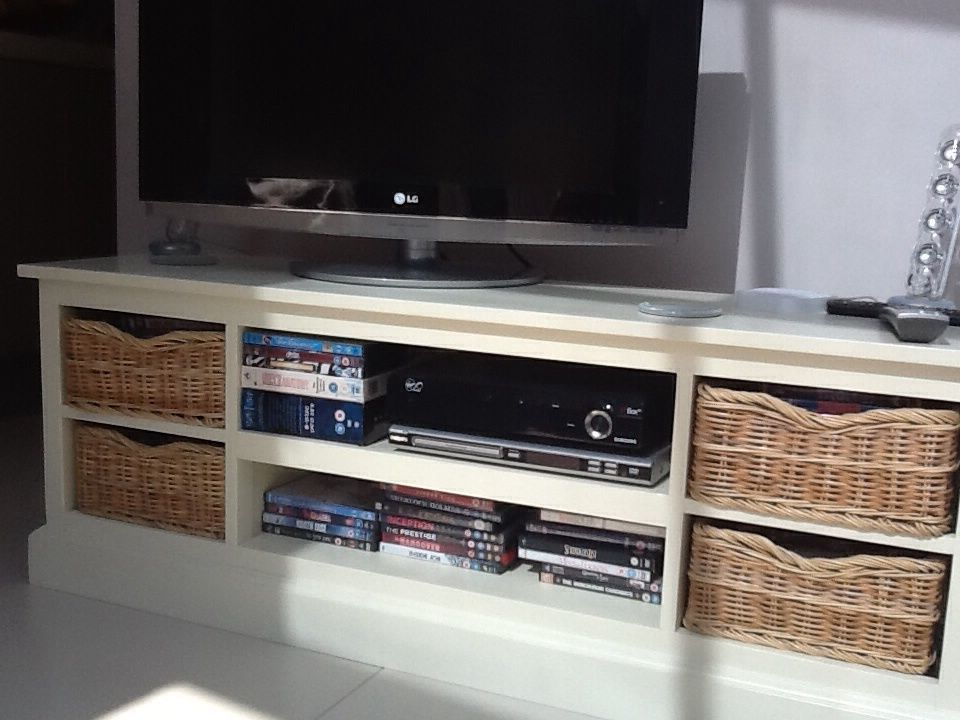 Cream Wooden Tv Stand With Wicker