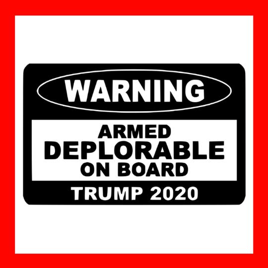 TRUMP SUPPORT STICKER WARNING ARMED DEPLORABLE ON BOARD 2020 DECAL WINDOW BUMPER