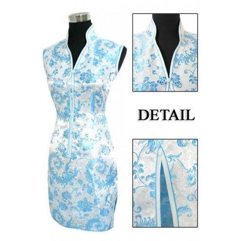 Periwing Light Blue Satin Straight Lapel V Collar Phoenix Tails Mini Chinese Dress Qipao