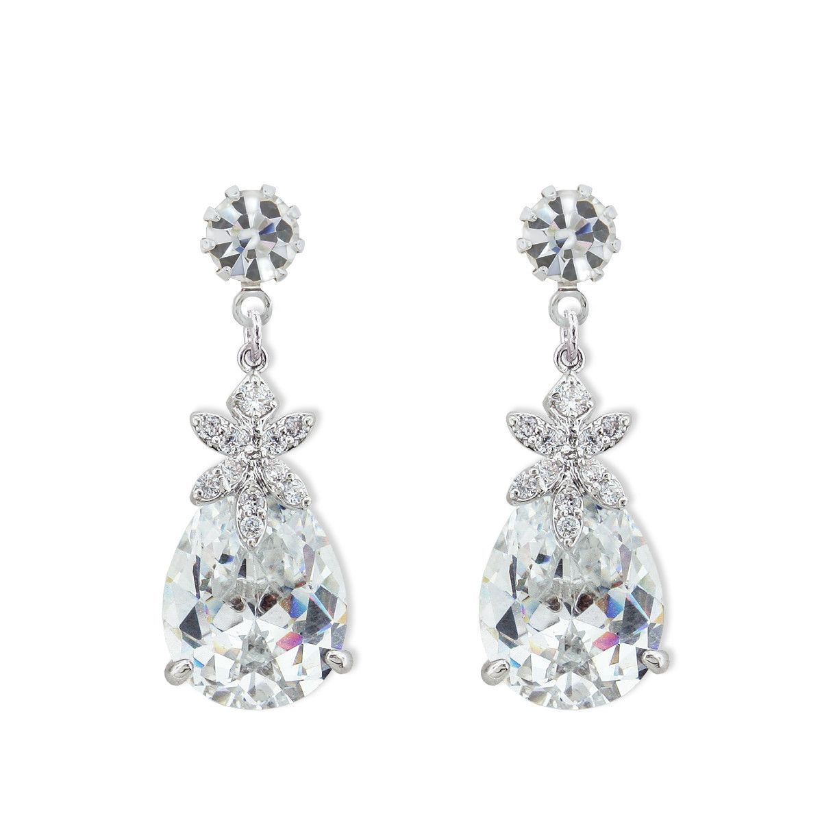 Glitzy CZ Drops - Perfect for adding a little pop to your look.  Brilliant CZ stones with Swarovski® prong-set crystal at the top.  Post backing. Non-tarnishing rhodium plate.
