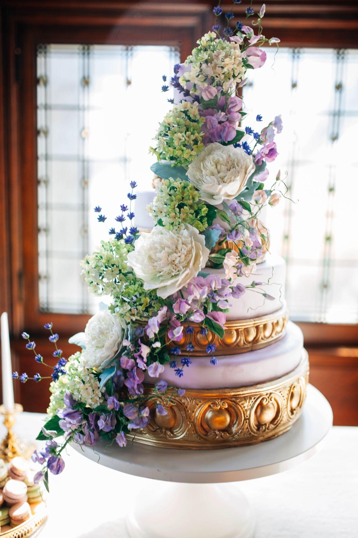 Purple sugar flower wedding cake sugar peonies viburnum and sweet