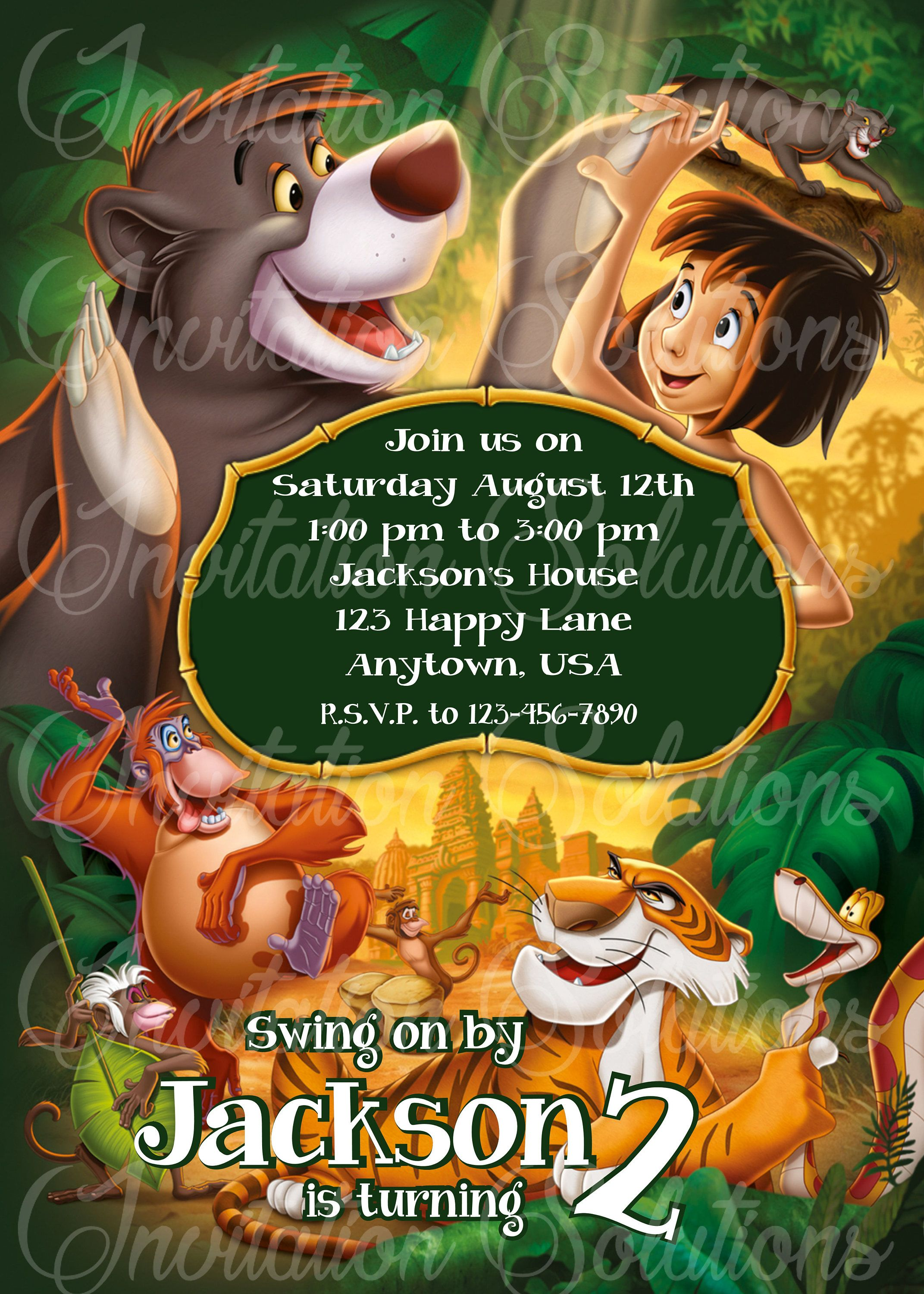 The jungle book birthday party invitation disney movie the jungle the jungle book birthday party invitation disney movie the jungle book party invite by invitesolution stopboris Choice Image
