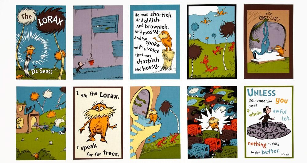 The Lorax Organic Cotton Panel Fabric The Lorax Dr Seuss Fabric