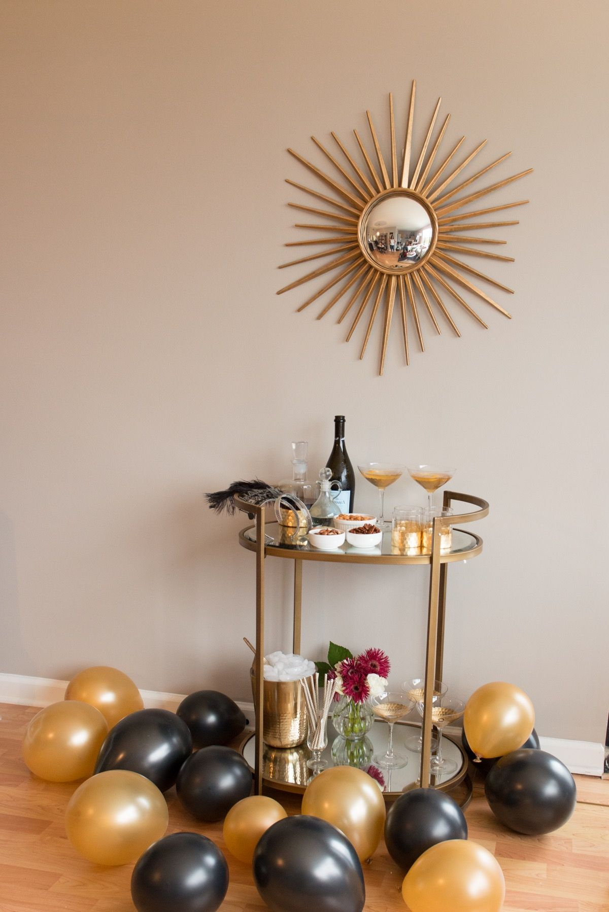 Ideas for a cocktail party at home - A Nye Bar Cart Mystylevita How To Throw A Nye Party At Home