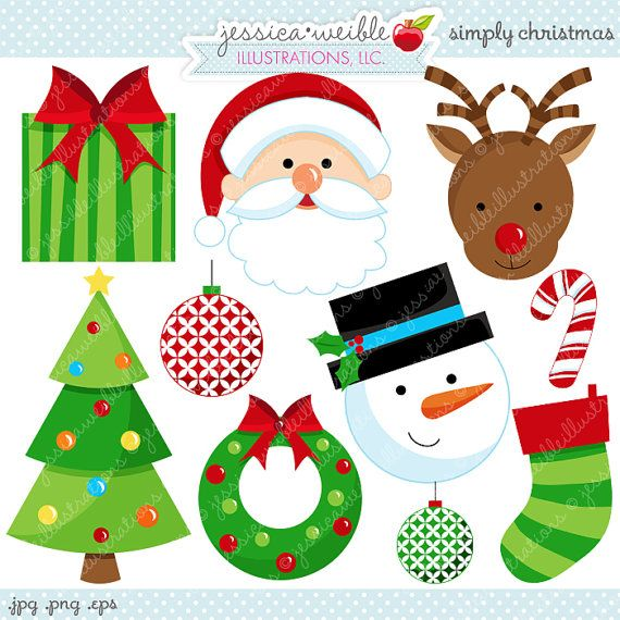Simply Christmas Cute Christmas Digital Clipart - Commercial Use OK - Christmas Graphics, Christmas Digital Art, Christmas Clipart