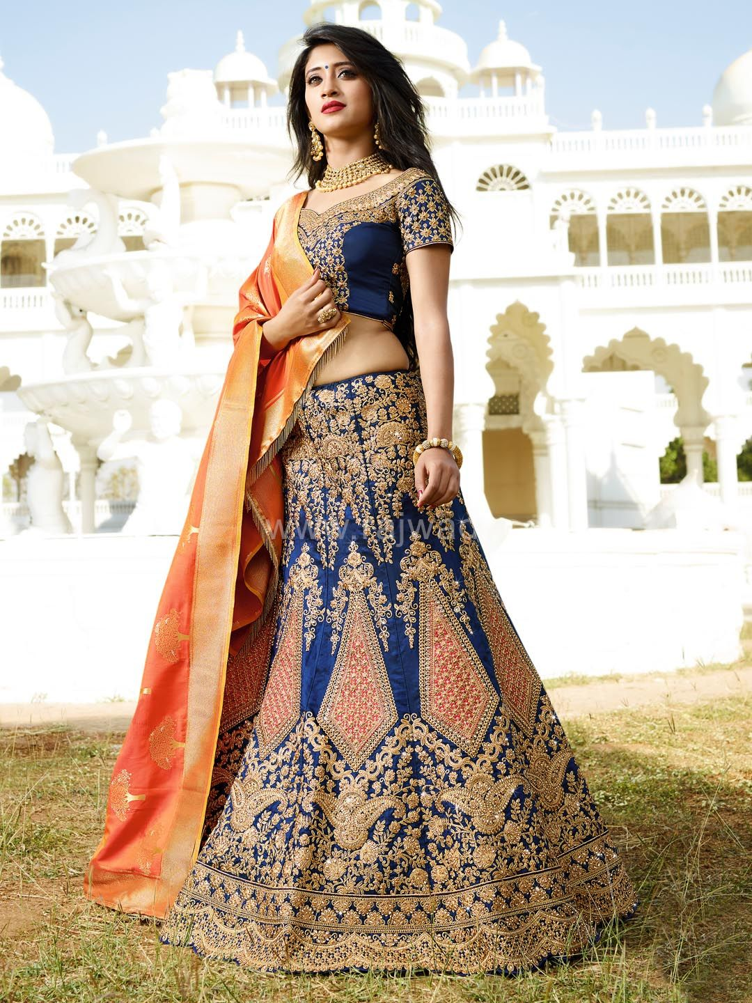 ea136a4579 WLC24463 - Blue and Dark Peach Color Shivangi Joshi Lehenga Choli.  Featuring a Navy Blue and Orange Dupion Silk Wedding ...