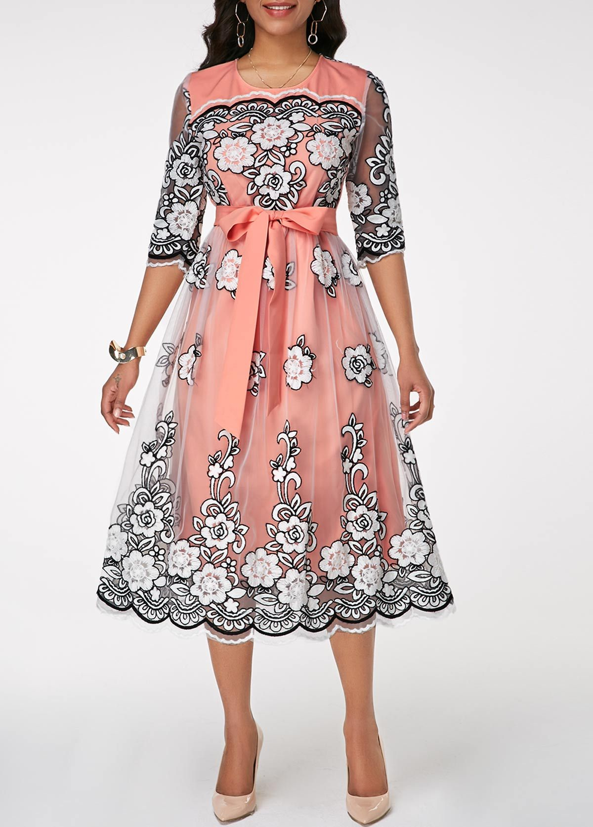 pink belted flower pattern midi dress | rosewe - usd