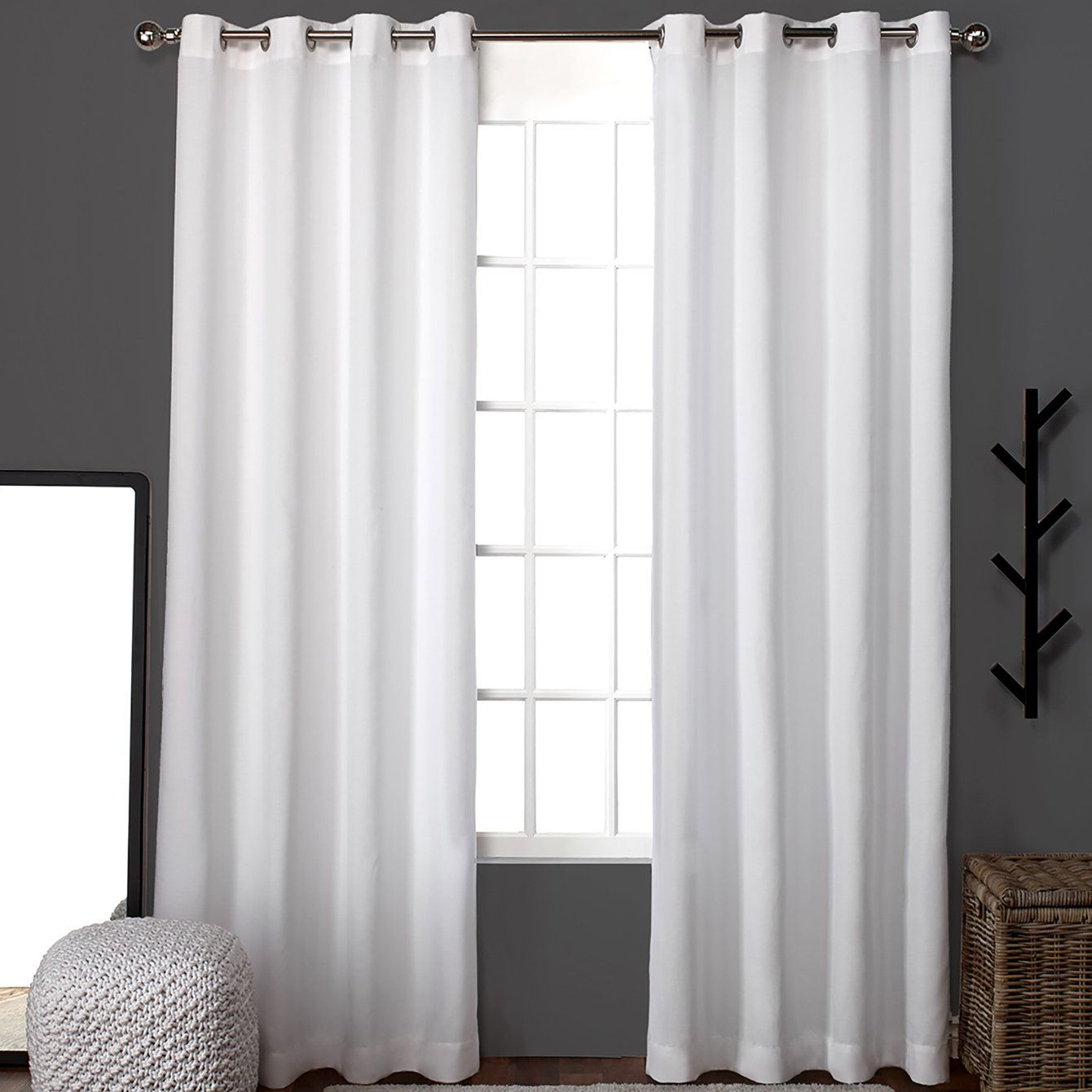 Heil Solid Color Semi Sheer Grommet Curtain Panel Home Curtains Panel Curtains Curtains