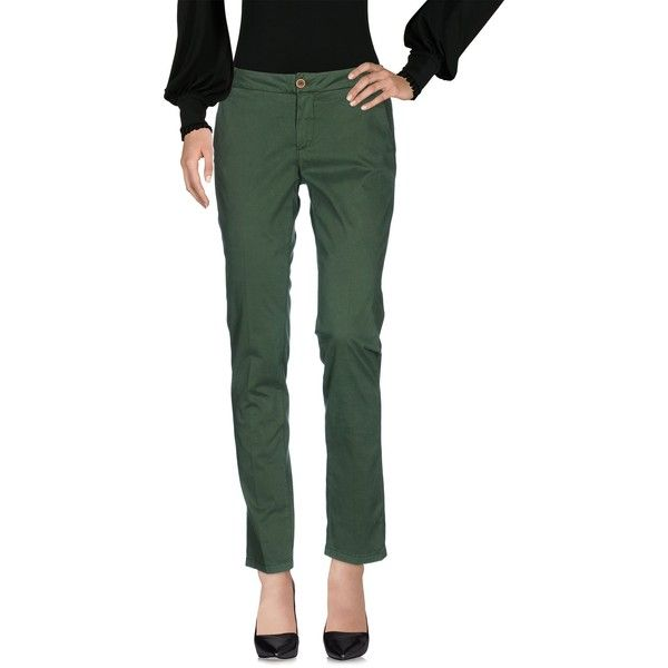 Manila Grace Denim Casual Trouser ($120) ❤ liked on Polyvore featuring pants, green, cotton trousers, green chino pants, straight leg trousers, chinos pants and green pants