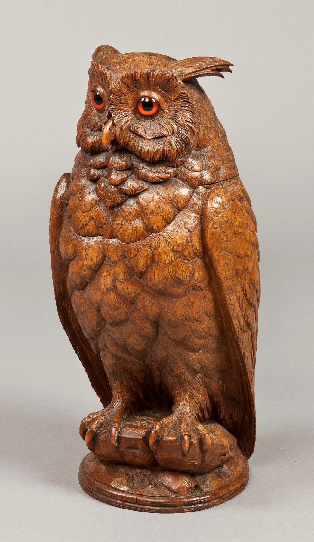 Black forest carved horned owl black forest carving wood art