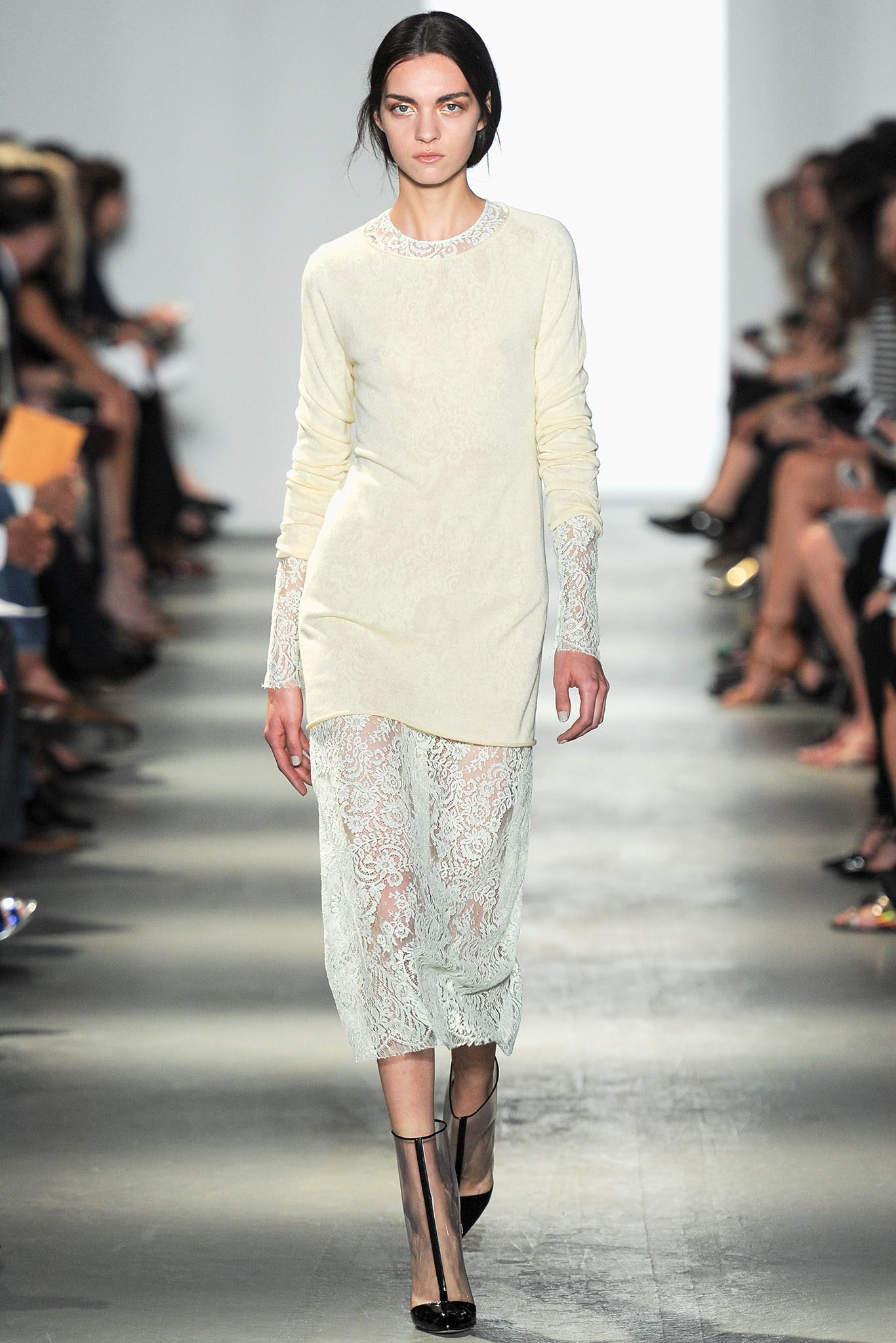 Wes Gordon Spring 2014 #lace // Learn how to work with Lace: http://www.universityoffashion.com/lessons/lace-overlap-seam/