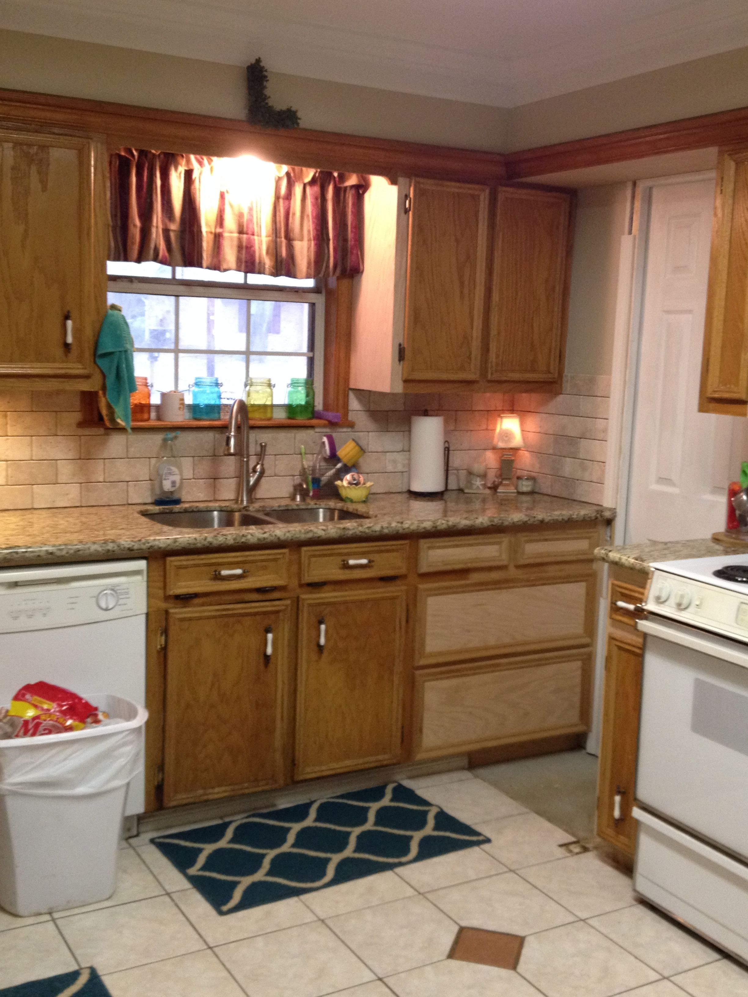 Before Dated Tile Dated Oak Cabinets Best Kitchen Cabinets Kitchen Cabinets Kitchen Cabinet Colors