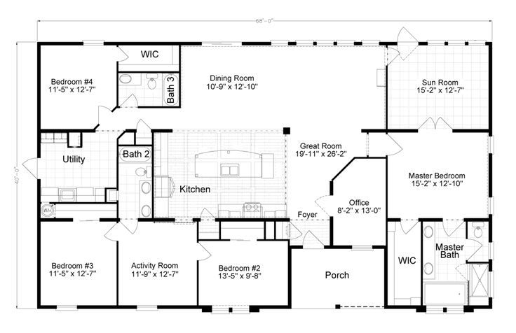 The Tradewinds Is A Beautiful 4 Bedroom 2 Bath Triple Wide Manufactured Home Modular Home Floor Plans Mobile Home Floor Plans Manufactured Homes Floor Plans