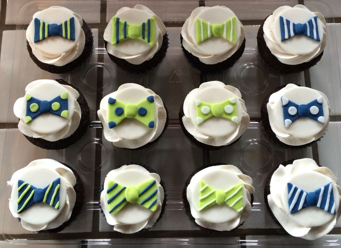 Little Man Boy Baby Shower Bow Tie Fondant Cupcake Toppers
