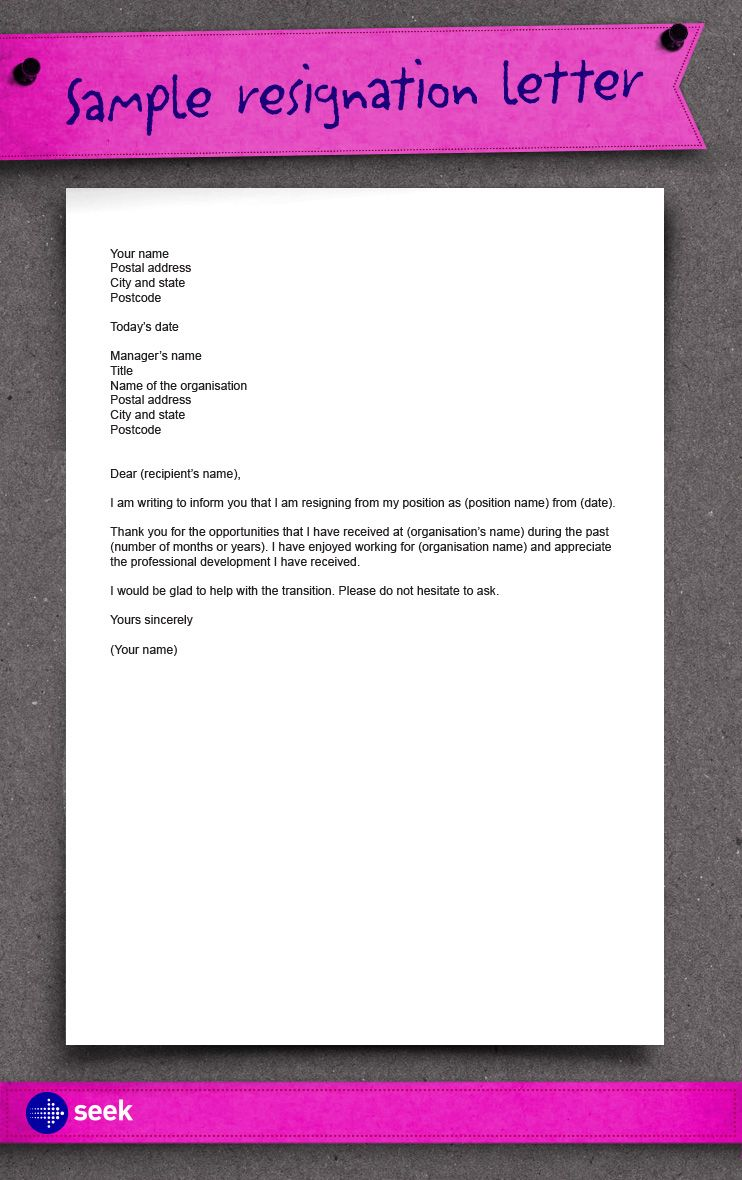 How to write a resignation letter For more up to date