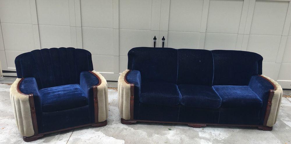 Best Antique 2 Piece Art Deco Mohair Royal Blue Sofa Couch Club 400 x 300