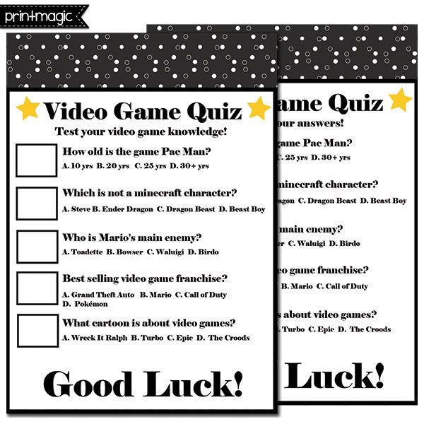 Items Similar To 1947 Birthday Trivia Game: Video Games Birthday Party Ideas In 2019