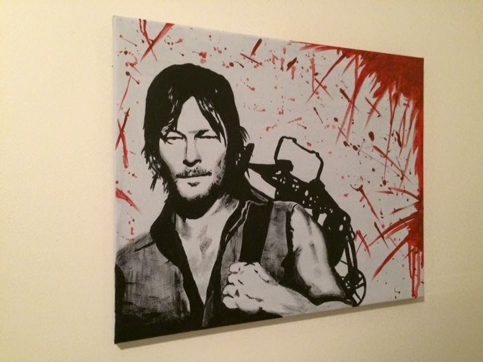 The Walking Dead Daryl Dixon Norman Reedus Canvas Painting Fan Art Painted Fan Canvas Painting Painting Drawing