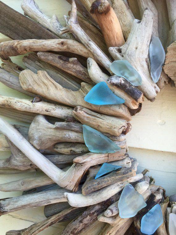 "Photo of Driftwood Wreath – 22 ""Maine Made Wreath – Turquoise Aqua Sea Foam Green and White Sea Glass Accents – Driftwood Decor – Driftwood Wall Art"
