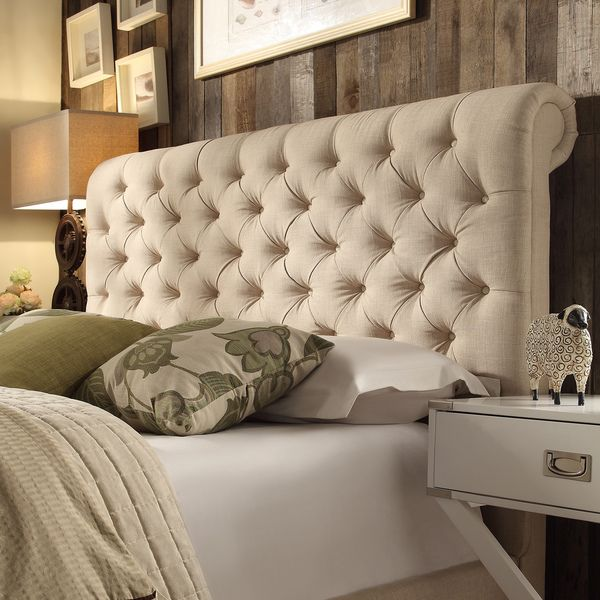 TRIBECCA HOME Knightsbridge Beige Linen Rolled Top Tufted ...