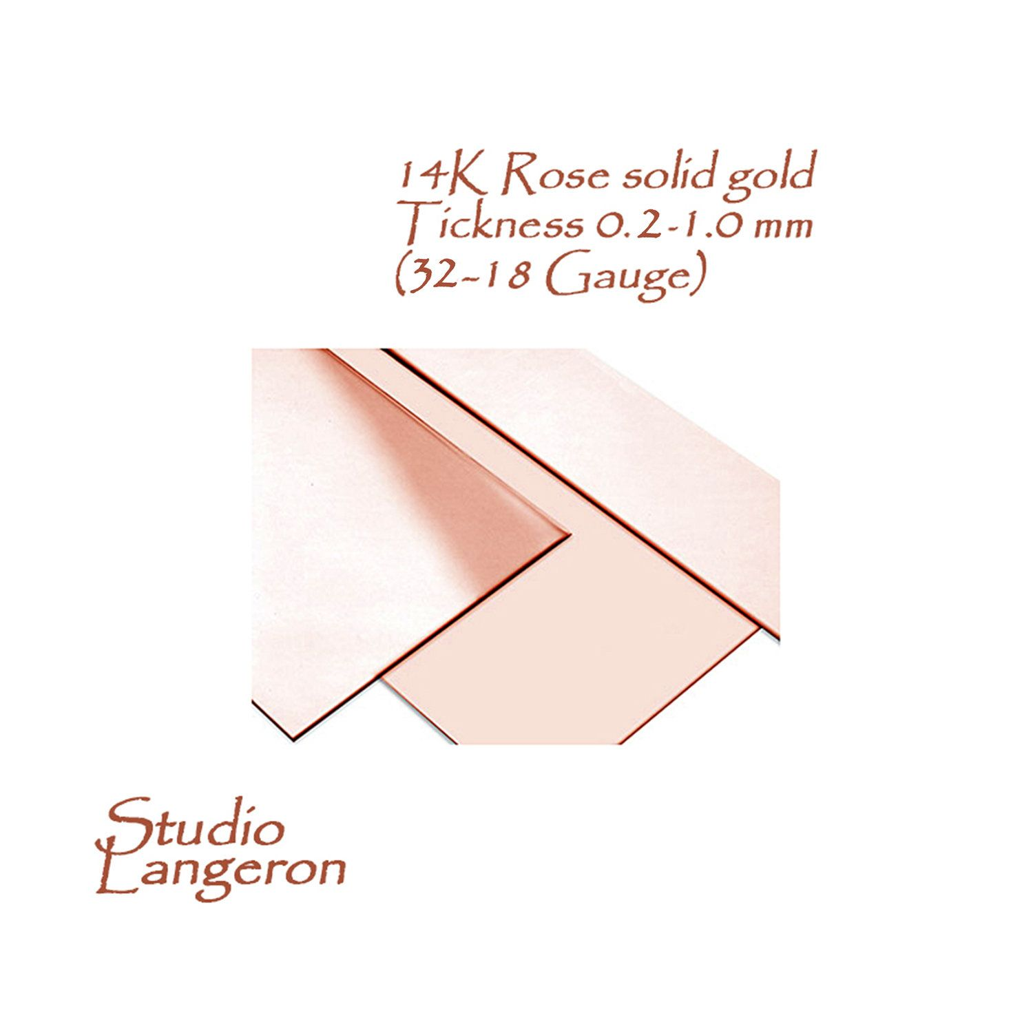 14k Solid Rose Gold Sheets Thickness From 0 2 To 1 0 Mm Size Etsy Gold Sheets Solid Gold Rose Gold