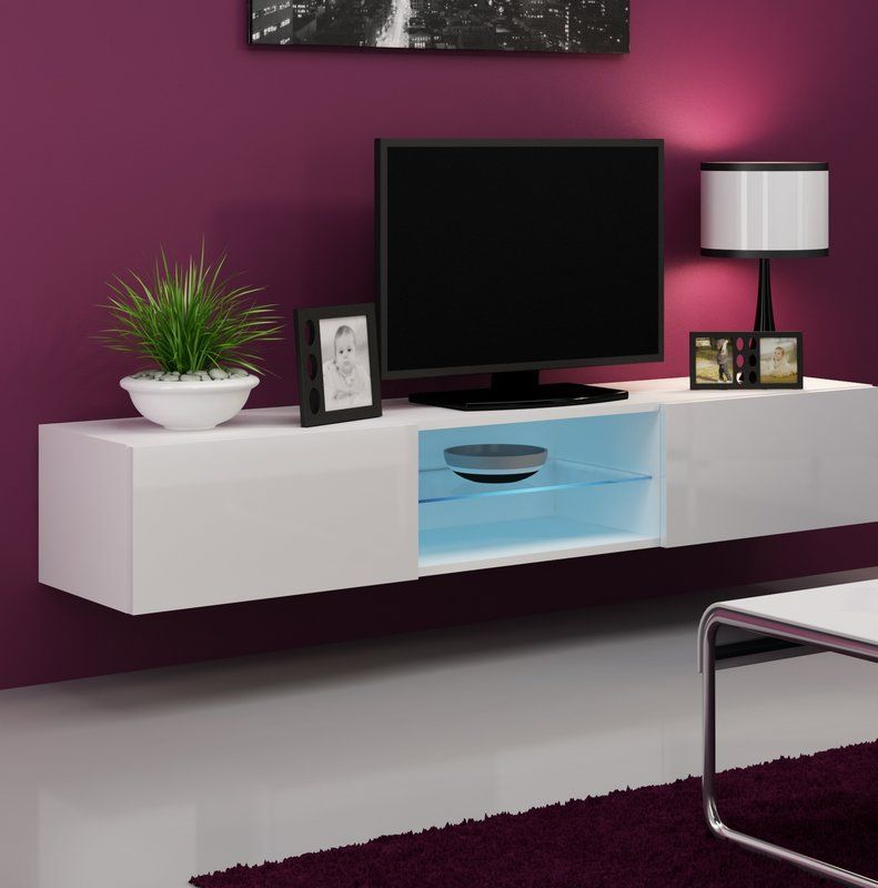 Jaggers Glass 70 9 Tv Stand White Tv Stands Modern Tv Wall