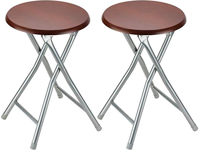 Round Folding Bar Stool Black Seat Foldable Kitchen Chair Counter Barstool Seat