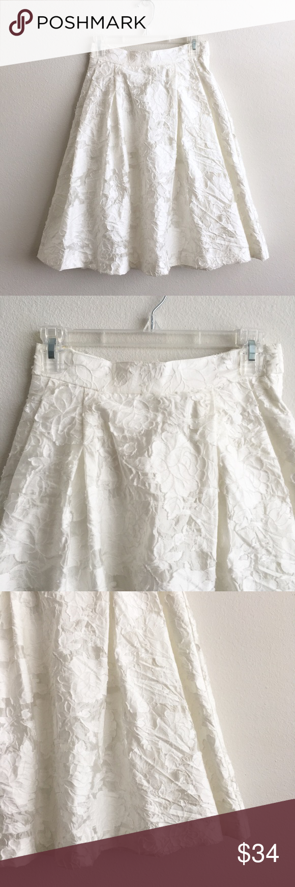 Hum white floral fit u flare midi skirt in my posh closet