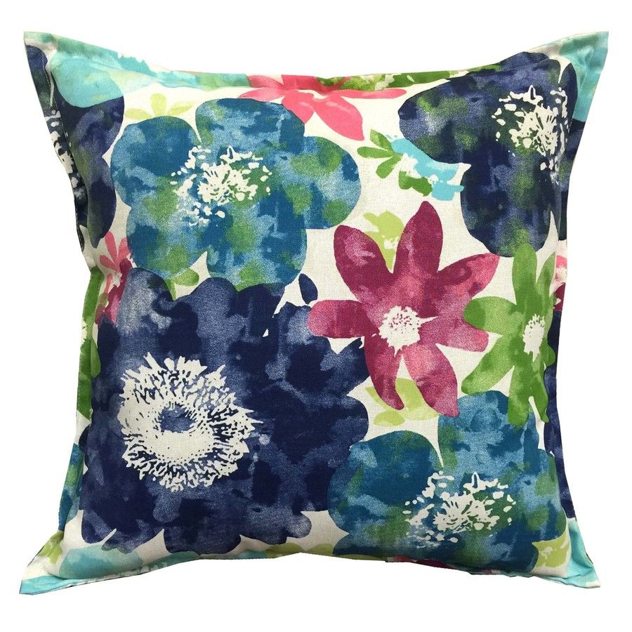 Allen Roth Blue And Blue Floral Square Throw Outdoor Decorative