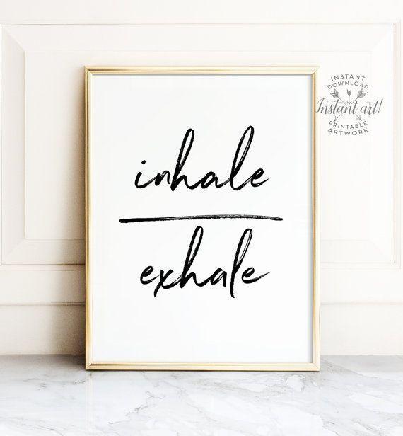 Inhale exhale print Yoga print PRINTABLE art Yoga poster   Etsy -   19 fitness Room mall ideas