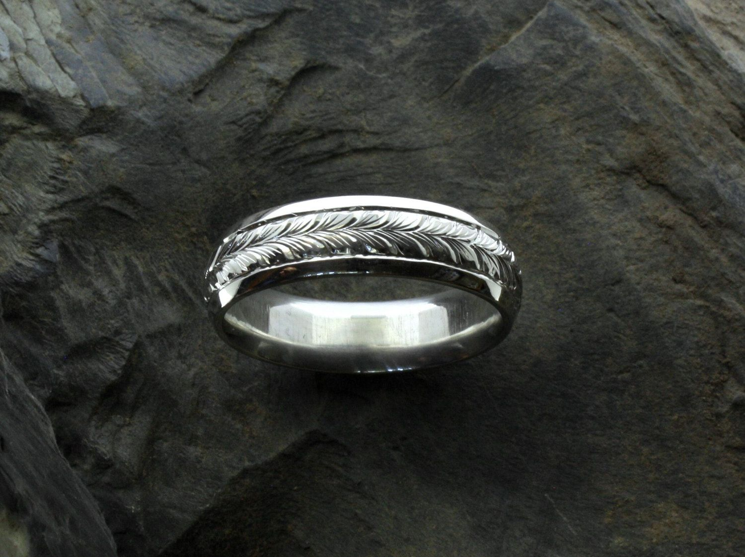 Hand Engraved Ring Band Custom Engraved Ring His Western Ring