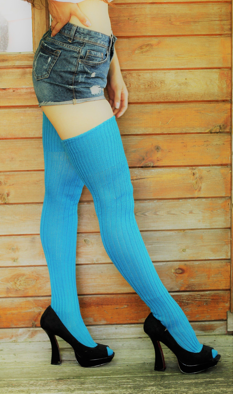 4564e9315 Bright AQUA TURQUOISE Ribbed Thigh high Socks Better than leg ...