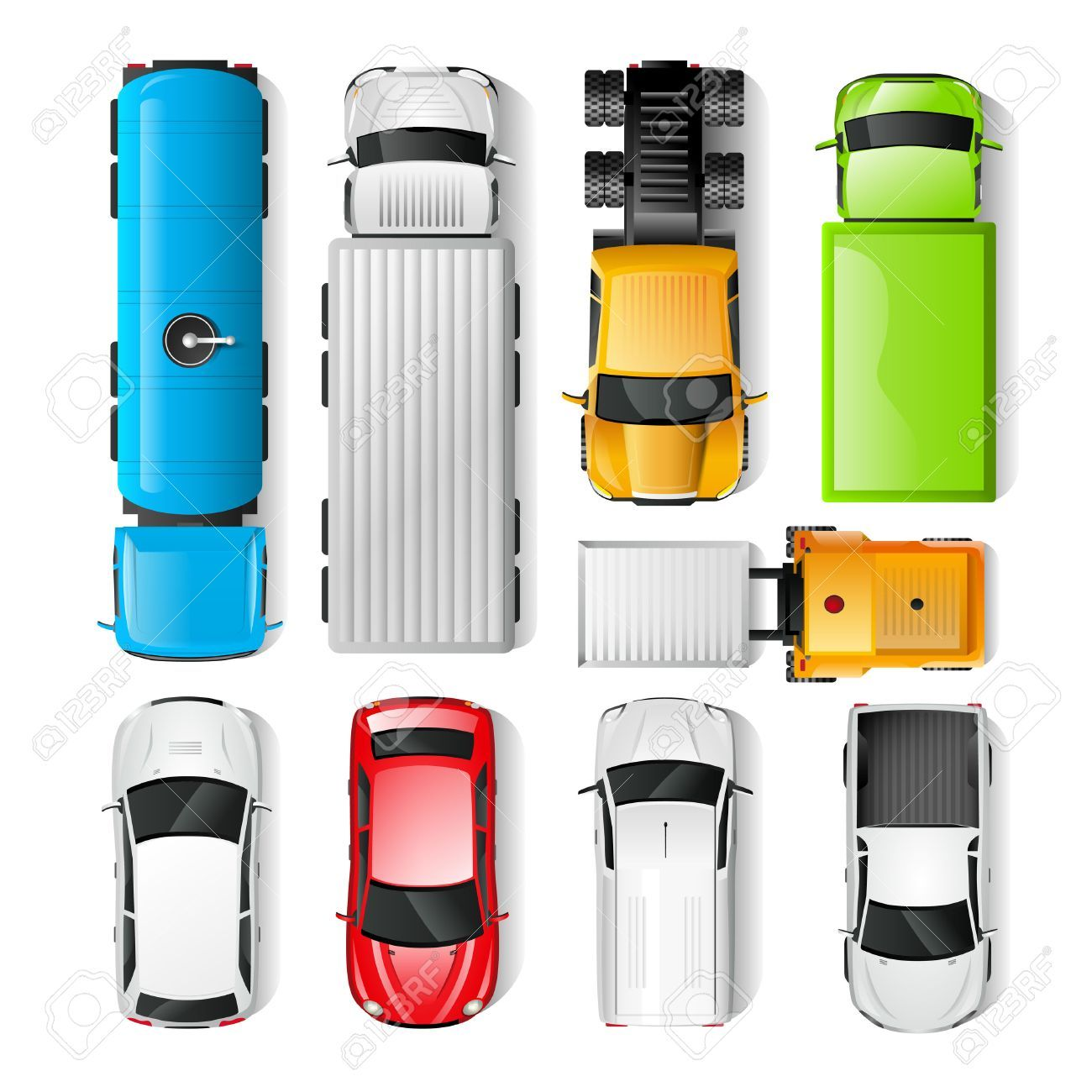 Realistic Cars And Trucks Top View Set Isolated Vector Illustration Car Top View Truck Top Top View