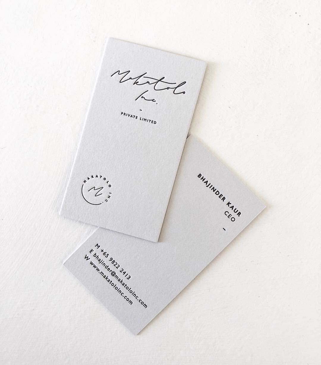 Branding For Makatolo Inc In Singapore Hand Lettered Script Black Letterpress Embossed Business Cards Graphic Design Business Card Letterpress Business Cards