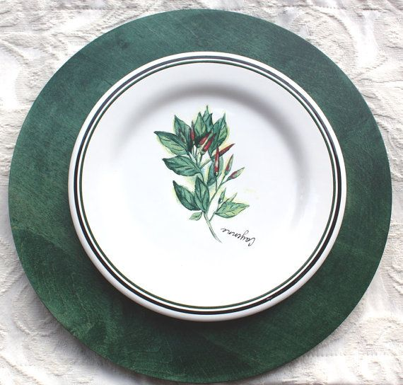 12 Festive Dark Green Charger Plate Dark Green Finish Dark Green Wooden Charger Plate Rag Rolled Wooden Charger Pl Green Charger Plates Charger Plates Plates