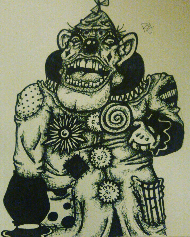 My version of a creepy clown Instagram.com/golempaper #draw #drawing ...