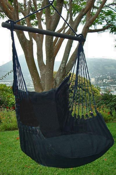 totally black chair from the Lazy Rezt collection, only at our shop rainbowhammocks.eu