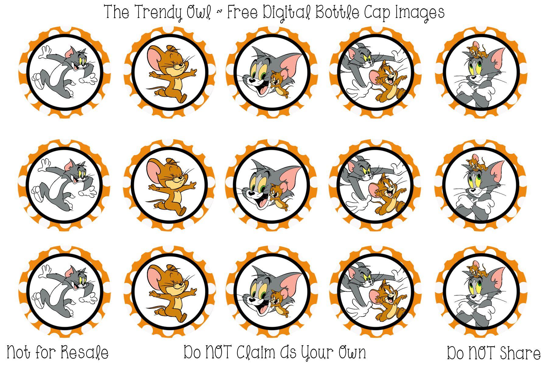 Tom & Jerry <3 Retired images uploaded as freebies! Enjoy! ~ FREE Digital Bottle Cap Images!! https://www.facebook.com/thetrendyowlUS http://www.thetrendyowl.com