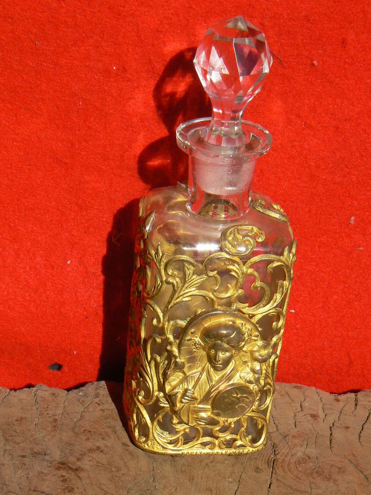 "Gold Ormolu Perfume Bottle Opera Souvenir Performance ""A Chinese Honey Moon 1908 #Ormolu #Unknown"