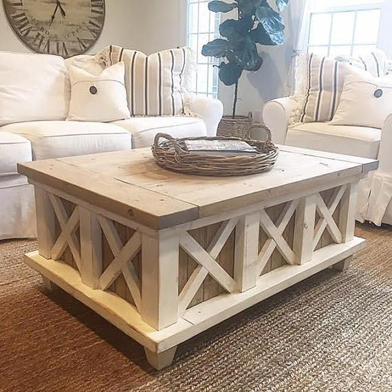 Distressed Farmhouse Living Room: The Distressed Farmhouse Crossbuck Coffee Table Is A