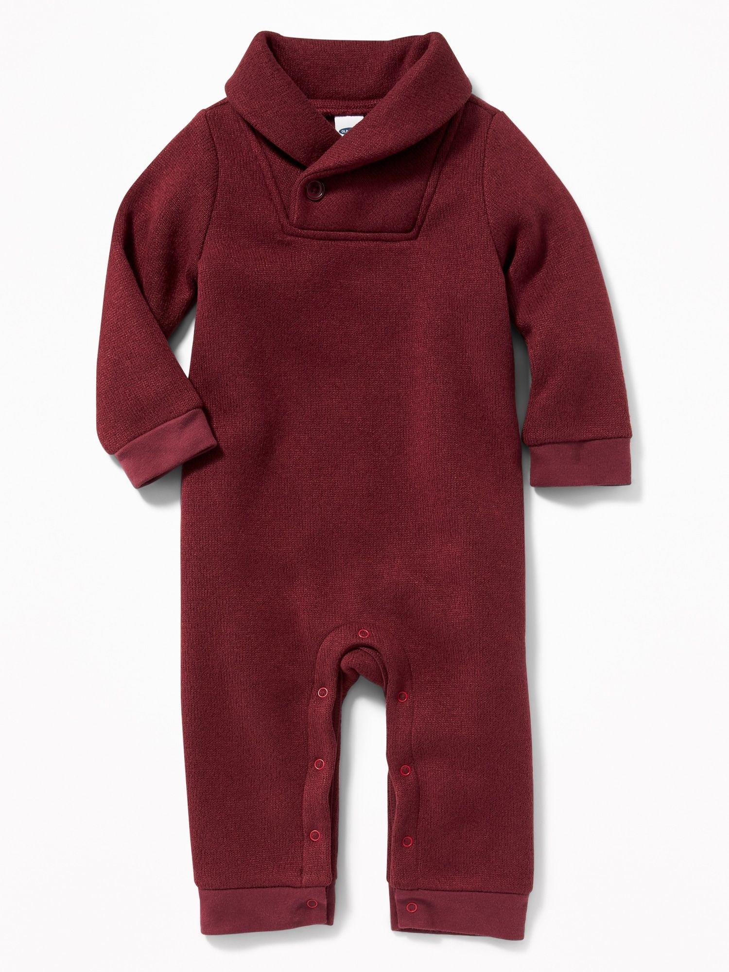 31818e3575a0 Shawl-Collar Sweater-Fleece One-Piece for Baby