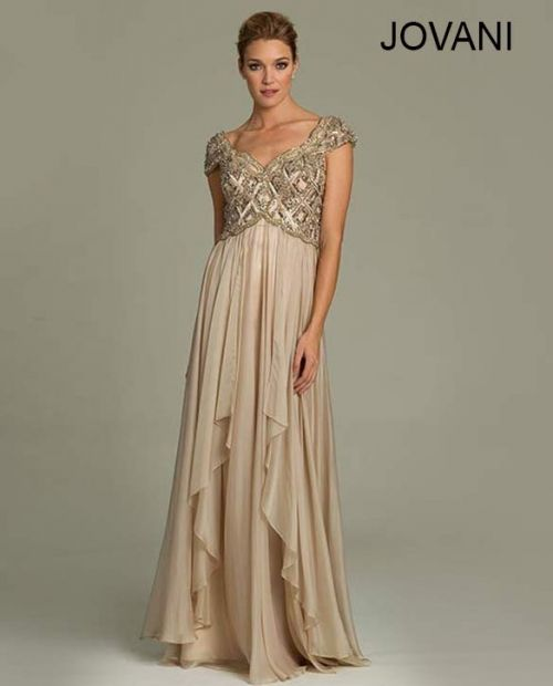 Stunning greek goddess nude gold mother of the bride gown by Jovani ...