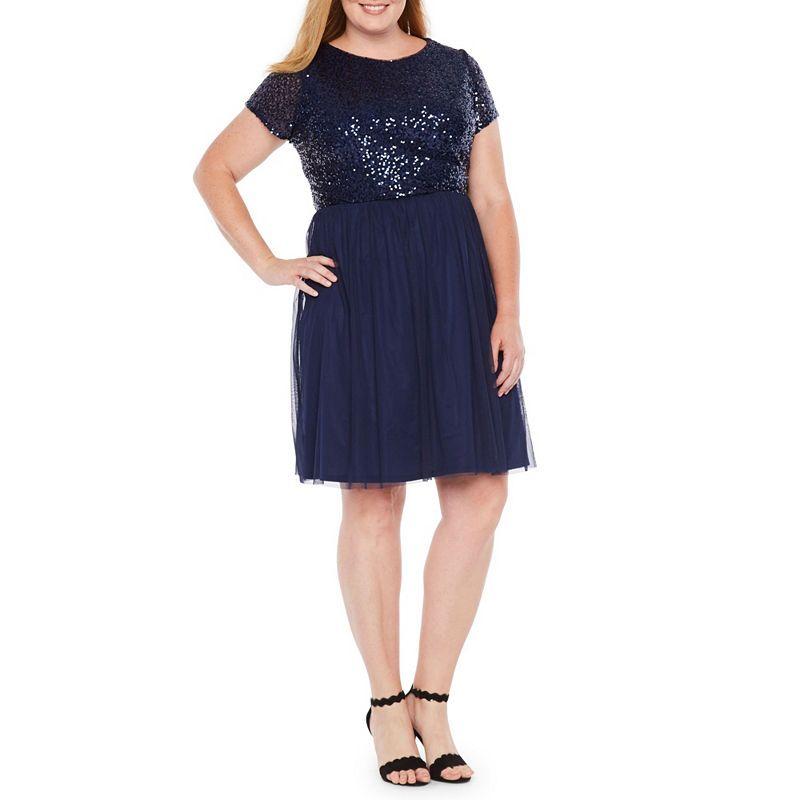 86197d9e164 Blu Sage Short Sleeve Sequin Top Dress - Plus