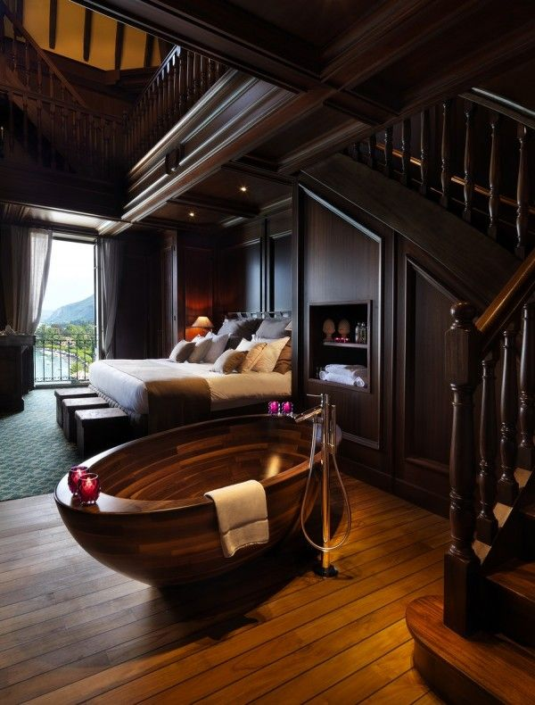Luxury Rustic Master Bedroom Decors With Open Bathroom Ideas As Well As Oval Walnut Wooden Bathtub On Wood Fl Beautiful Bathtubs Bathtub Design Elegant Bedroom