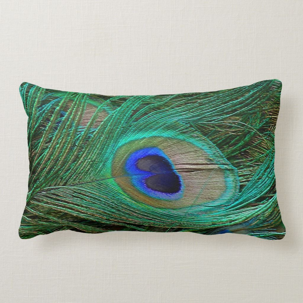 Indian Blue Peacock Feather Throw Pillow Throw Pillows Indian