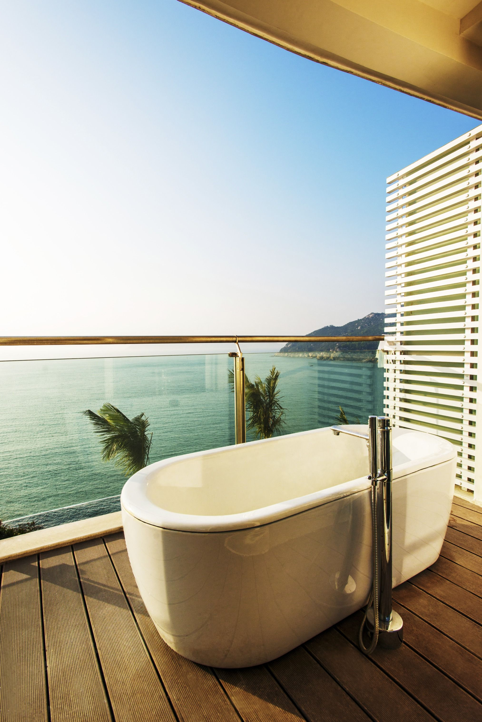A Private Outdoor Bathtub, Perfect For Any Home With A Beautiful Balcony  View. This