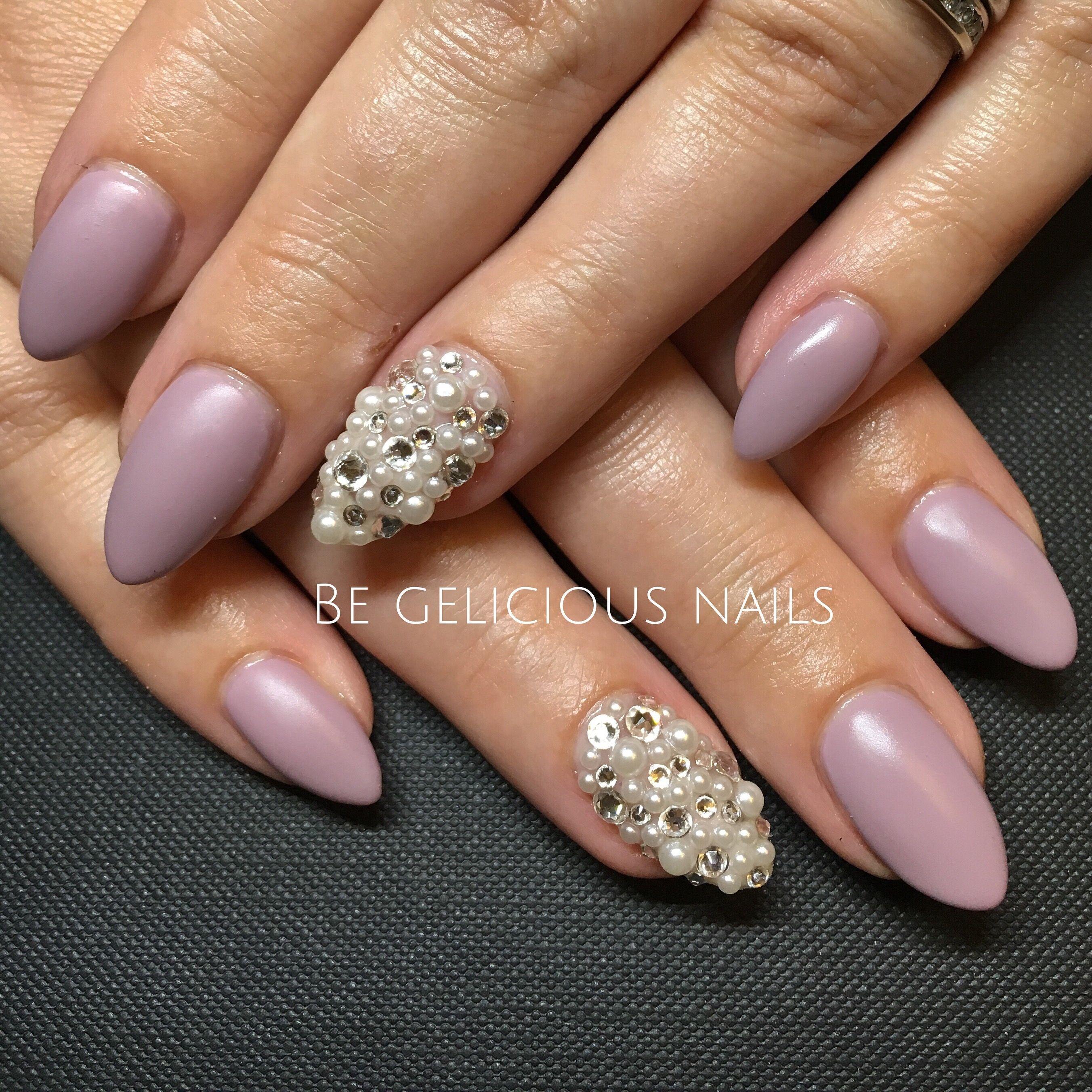 Calgel Nails Gel Nail Art Design Pearls Swarovski Matte