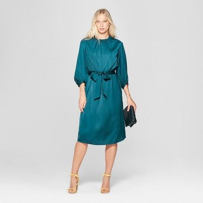 234a64213cc Women s 3 4 Sleeve Tie Waist Column Maxi Dress - Who What Wear Blue ...