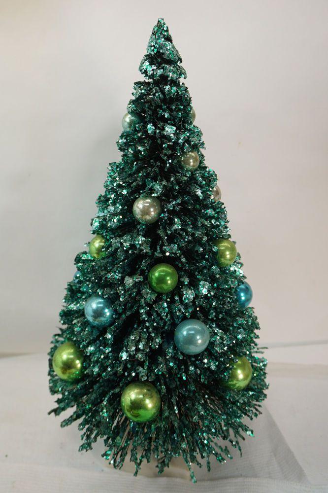 Vintage Bottle Brush Christmas Tree Mercury Glass Ornaments 17in Marble Base Bottle Brush Christmas Trees Holiday Christmas Tree Christmas Tree